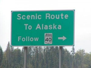 "Road sign that says ""Scenic Route to Alaska"""
